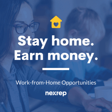 Stay-at-home mom working from home with her son